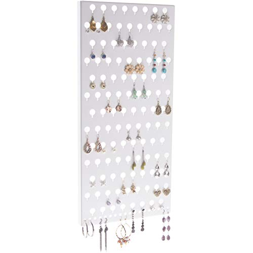 Angelynn's Stud Earring Holder Organizer Display Wall Mount Hanging Closet Jewelry Storage Rack, Michelle White