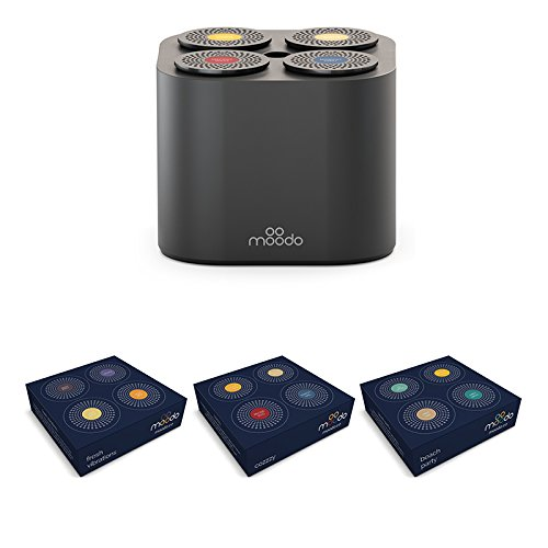 Moodo Smart Home Fragrance Diffuser for Scent Mixing, Alexa Compatible, Wi-Fi Connected App, Pack includes 12 Scent Pod Refills