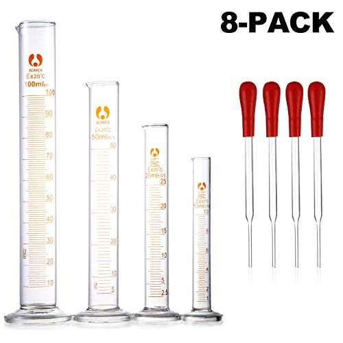 Young4us Glass Cylinders, Pack of 8 Cylindrical Glass Measuring & Glass Droppers Set, 4 Graduated Cylinders in 4 Sizes with Scales, 100ml, 50ml, 25ml, 10ml, 4 Glass Droppers Without Scales (3ml)
