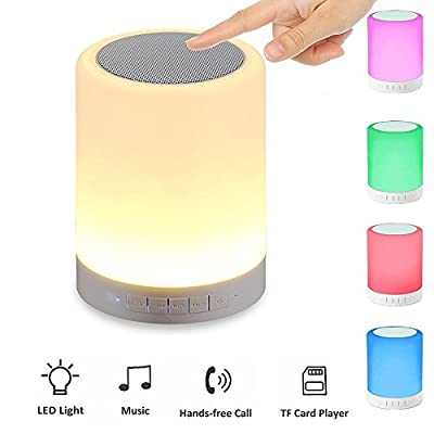 LED Light Speaker,Ubit Smart Touch Portable Multifunctional Bluetooth Speaker with Smart Touch LED Mood Lamp, Muisc Player / Hands-free Bluetooth Speakerphone, TF card / AUX supported, White by Ubit201605131205