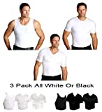 Insta Slim 3pc Variety pack, get one of each Muscle tank, Crew-neck and V-neck shirts - White-L