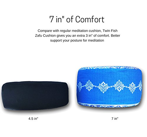 "Twin Fish Zafu Meditation Cushion / Yoga Pillow: Relax and get into your zen (12.5"" wide x 7"" tall)"