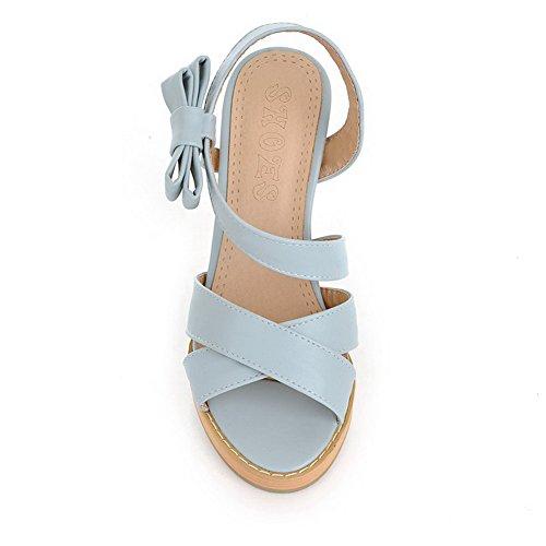Amoonyfashion Donna Materiale Morbido Pull On Open Toe Sandali Tacchi Alti Blu