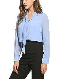 ACEVOG Womens Casual Chiffon Ladies V-Neck Cuffed Sleeve Blouse Tops (Small, Light Blue)