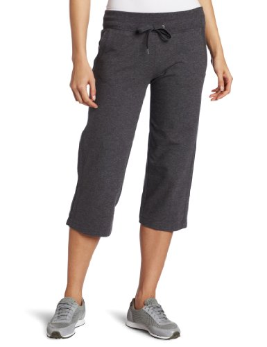 Danskin Women's Drawcord Crop Pant, Charcoal Heather, Large (Capris Danskin)