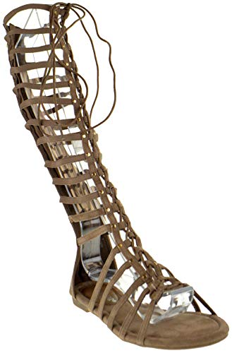 (DBDK Carling 3 Womens Knee High Flat Caged Gladiator Sandals Taupe 9)