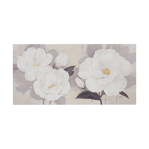 Madison Park Midday Bloom Florals Hand Embellished Floral White Canvas Wall Art 39X19, Transitional Painted Wall Décor