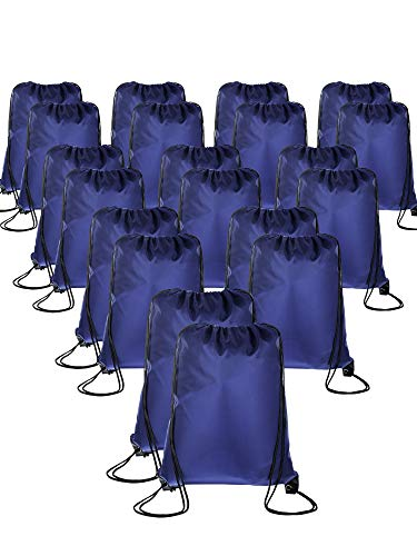 (20 Pieces Drawstring Backpack Sport Bags Cinch Tote Bags for Traveling and Storage (Navy Blue, Size 1) )