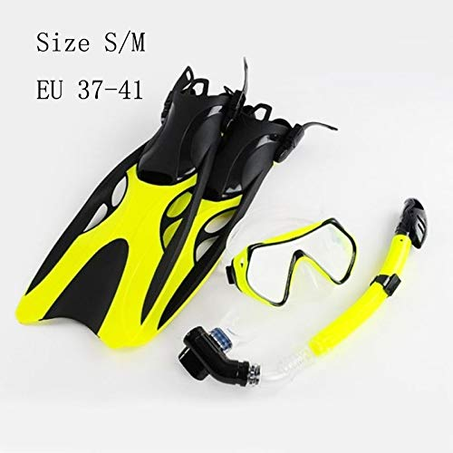 Professional Scuba Diving Mask Adult Swimming Fins with Snorkel Tube Set Long Snorkeling Shoes Diving Flippers Yellow Size S M by Ygyun