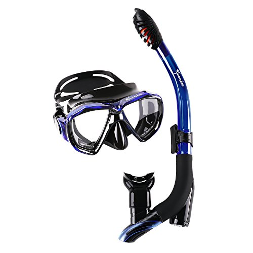 Wonice Innovative Water-Air Separated channel Dry Top Snorkel Set.Get Rid of sucking water snorkel,Anti-Fog,Panoramic Wide View Diving Mask,With adjustable silicone straps (BLACKBLUE)