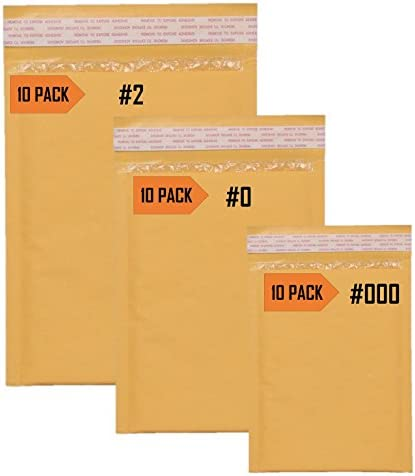 12 Kraft Bubble Envelope Combo ~ 2 Large Sizes ~ Self-Sealing Padded Mailers ~ Made in the USA