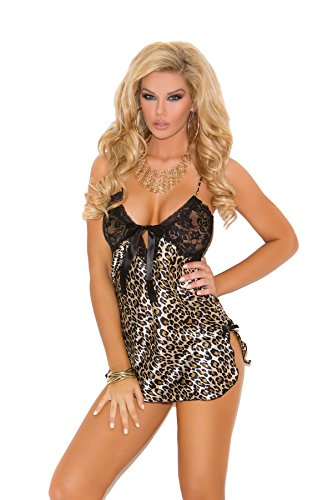Sexy Charmeuse Animal Print Chemise with Lace Cups Sleepwear Lingerie (L, Leopard) ()