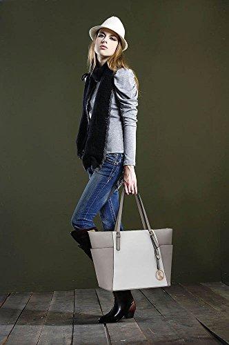 LEESUN LONDON - Bolsa mujer, color beige, talla L Gris/Blanco Bolso