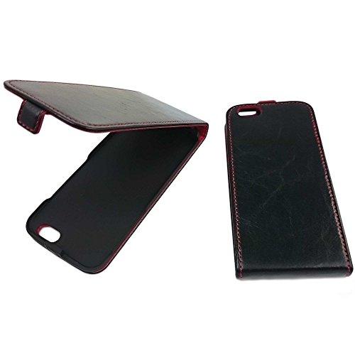 Black Red Edition Edle Premium Echtleder handgemacht Flip Case Klapptasche Ledertasche Lederhülle Klapphülle Hülle Tasche Etui aus Leder für iPhone SE 5 5S, Schwarz-Rot