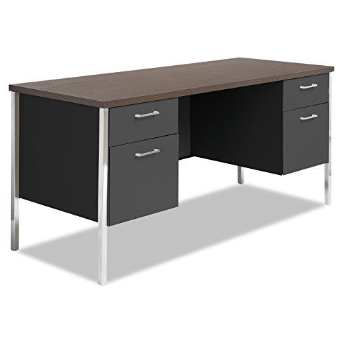 Alera Walnut Desk - Alera ALESD6024BM Double Pedestal Steel Credenza, 60w x 24d x 29-1/2h, Walnut/Black