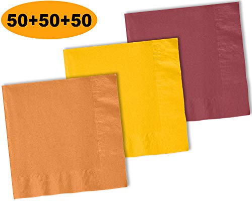 150 Beverage Napkins, Autumn Orange, Sunshine Yellow, Burgundy - 50 Each Color. 2 Ply Paper Cocktail Napkins. 5