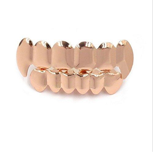 Fang Set Grillz (Captain Crafts Gold Plated Hip Hop Fangs Teeth Grillz Caps Top Bottom Teeth Set (Rose Gold))