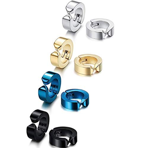 GOMYIE 1 Pairs Titanium Steel Clip On Earrings Non Pierced Huggie Hoop Fake Earrings For Men Or Women(Steel color) by GOMYIE (Image #2)