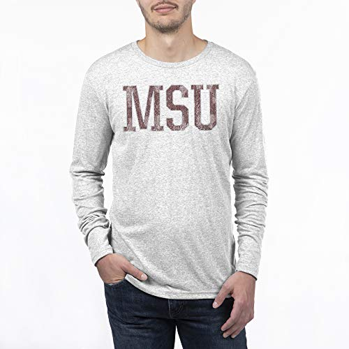 NCAA Mississippi State Bulldogs Men's Tri-blend Long Sleeve Team Color Distressed Icon Tee, Large, Heather White