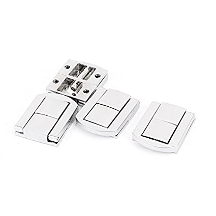 EbuyChX Box Kaso maleta 30mm x 25mm aldaba Drawbolt Closure Silver Tone 4pcs