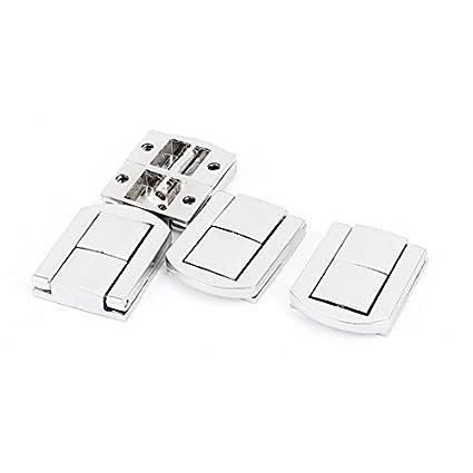 EbuyChX Box Kaso maleta 30mm x 25mm aldaba Drawbolt Closure Silver Tone 4pcs