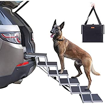Niubya Folding Car Dog Steps Stairs, Lightweight Aluminum Portable 6 Step Pet Ladder Ramp for Medium and Large Dogs to Get into Car, Truck, SUV and High Bed, Supports 150-200 lbs