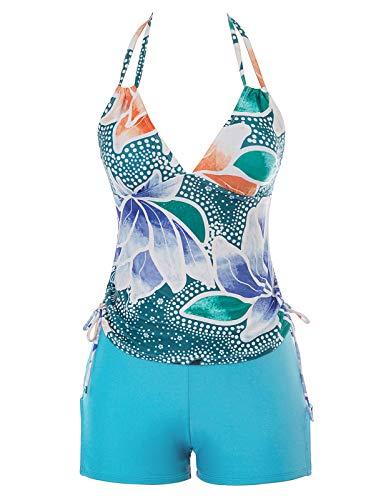 GRACE KARIN Floral Hlater Racerback Tankini Set Boyshort Two Piece Swimsuit ()