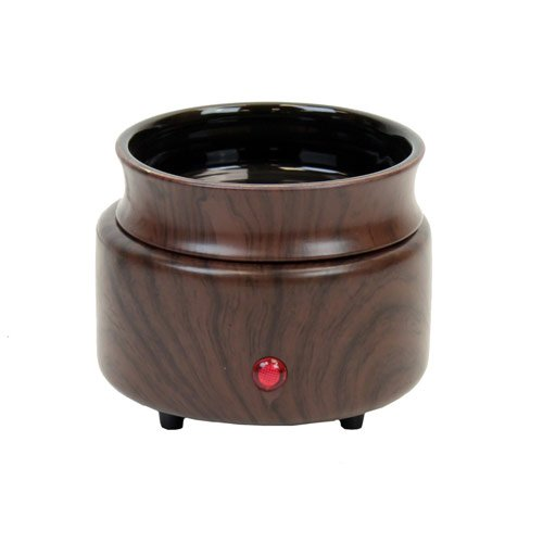 Walnut Wood Finish 2 in 1 Ceramic Stoneware Electric Candle Tart Oil Warmer
