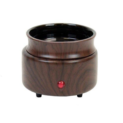 Ceramic Candle Warmer ~ Walnut wood finish in ceramic stoneware electric