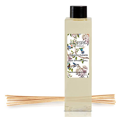 LOVSPA Tobacco Flower Reed Diffuser Oil Refill with Replacement Reed Sticks - A Floral Blend of Tobacco Flower, Vanilla Bean, Spicy Orchid, Warm Tonka - Natural Essential Oils - Made in The USA
