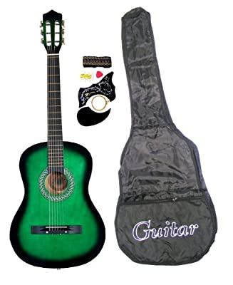 "38"" Acoustic Guitar Starter Package, Guitar, Gig Bag, Strap, Pitch Pipe & DirectlyCheap(TM) Translucent Blue Medium Guitar Pick"