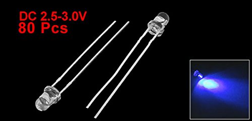 80 Pieces Clear 5mmx3mm Straw Hat Blue LED Emitting Diode DC 2.5V-3.0V