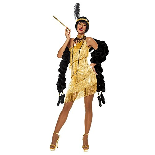 [Dazzling Flapper Costume - Large - Dress Size 12-14] (Gold Flapper Dress)