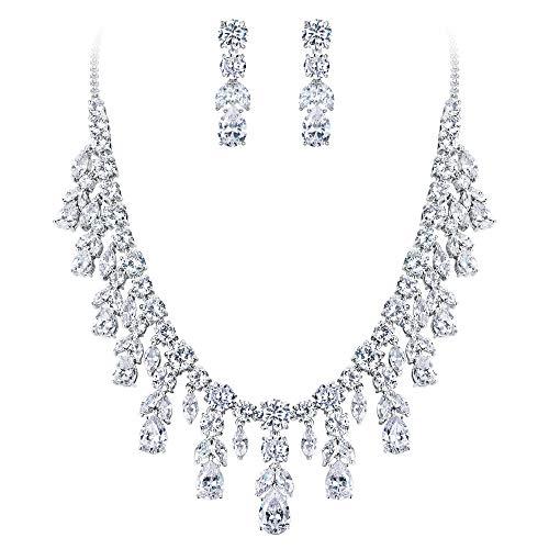 BriLove Wedding Bridal Necklace Earrings Jewelry Set for Women CZ Cluster Leaf Teardrop Statement Necklace Dangle Earrings Set Clear Silver-Tone