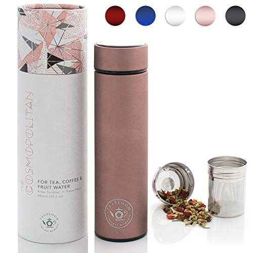 Teabloom All-Purpose Beverage Tumbler | Oprah's Favorite | 16oz/480ml - Brushed Metal Insulated Water Bottle/Tea Flask/Cold Brew Coffee Mug - Extra-Fine Two-Way Infuser Travel Bottle - Rose Gold (Thermos Tea Tumbler)