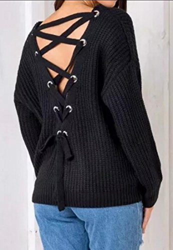 Pullover Sweat Tops Pullover V Up amp;S Women's Black amp;W Knitted Lace Neck M IqCawUxAq