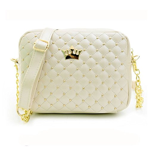 Chain Women Handbag Casual Bags Leather Shoulder Girls Bag Rivet Shoulder Purse Rcool Messenger Beige Women Fashion Bag Bag Crossbody qWtRwzFZ