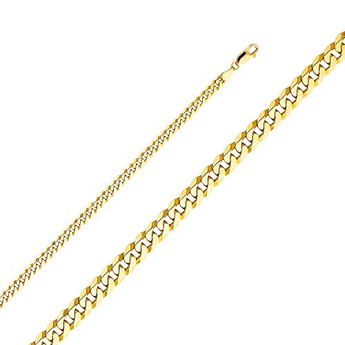 """Wellingsale 14k Yellow Gold SOLID 4.5mm Polished Flat Cuban Beveled Chain Necklace - 24"""""""