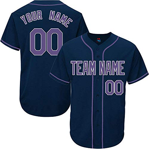 SOOONG Navy Custom Baseball Jersey for Men Women Youth Throwback Embroidered Team Player Name & Numbers ()