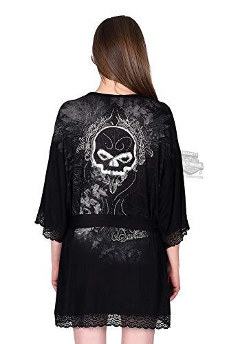 (Harley-Davidson Womens Hole in a Heart Willie G Skull Black 3/4 Sleeve Robe)