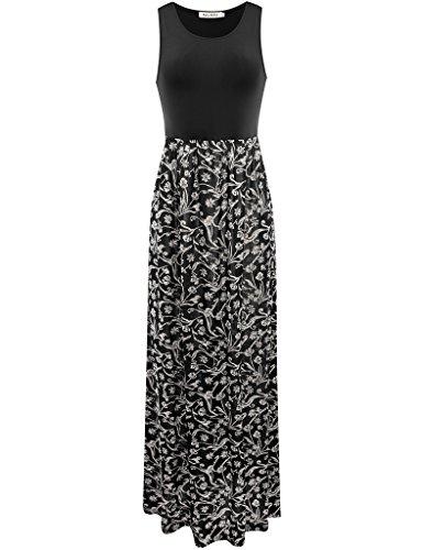 Melynnco Women's Bohemian Summer Sleeveless Tank Top Long Maxi Dress Black/White Print XX-Large