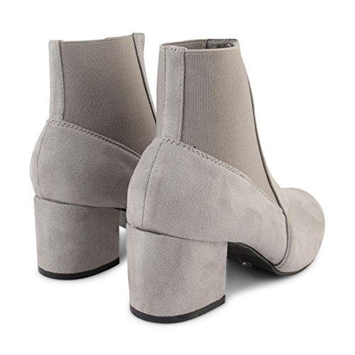 Footwear Sensation - Botas Chelsea mujer gris ante