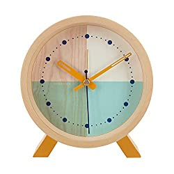 Cloudnola Flor Wood Desk and Alarm Clock Turquoise, 7.1 inch Diameter, Silent Non Ticking, Battery Operated Quartz Movement
