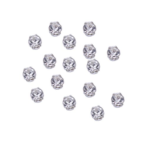 Zijing 100pcs Silver Clear Czech Glass Rhinestone Rose Montees Beads With 4 Holes for Sew On (clear white--100pcs)]()