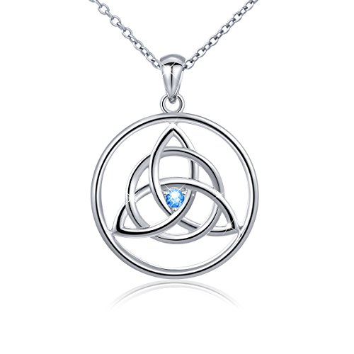 S925 Blue Cz Irish Celtic Trinity Knot Good Luck Charm Valentine's Gift Necklace for Women Lady,18