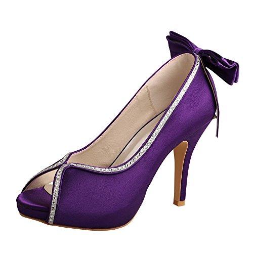 Women Rhinestones Peep Bows Prom Toe Heel Purple Bridesmaid Shoes High  Platform Pumps Wedopus OdgzqO 10a8206dccb4