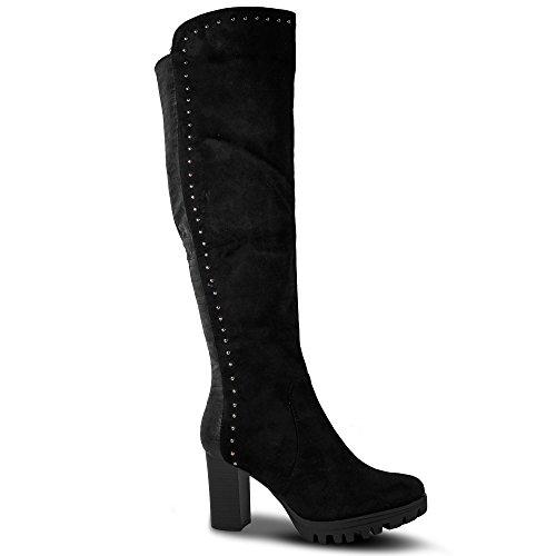 Damen Stiefel High Heels Stiefeletten Nieten Boots Blockabsatz Gogo ST078