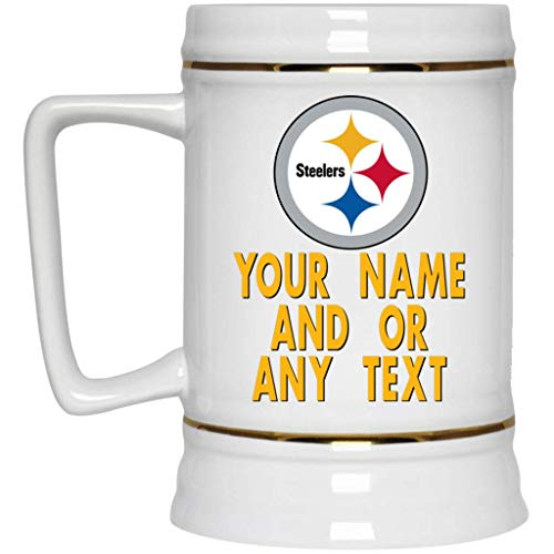 (Custom Personalized Pittsburgh Steelers Beer Mug Steelers Logo Beer Stein 22 oz White Ceramic Beer Cup NFL AFC Football Perfect Gift Idea for any Steelers Fan)