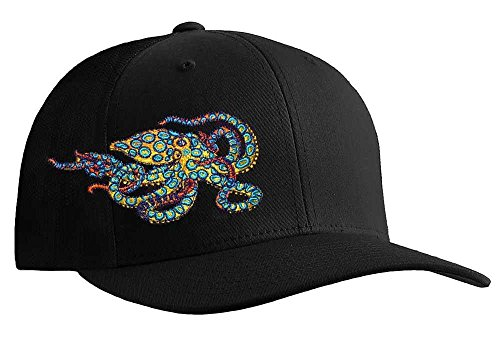 Octopus (Blue Ring) Scuba Diving Fitted Hat Flexfit Cap: Freediving | Dive | Spearfishing - S/M