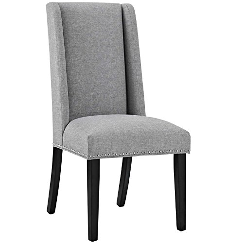 Modway Baron Upholstered Fabric Modern Tall Back Dining Parsons Chair With Nailhead Trim And Wood Legs In Light -